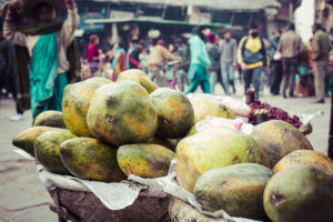 The street vendor sels his fruits and vegetables in Thamel in Kathmandu, Nepal.